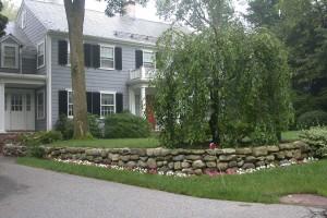 front yard rock wall