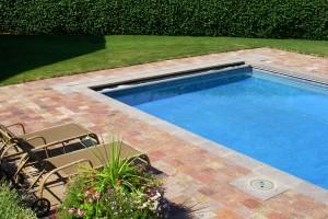 rectangular pool and patio