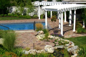 terraced landscape down to pool deck