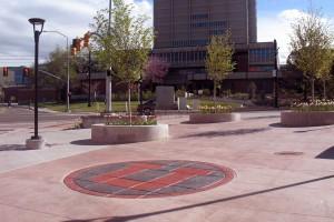 University of Utah logo at Stadium Plaza