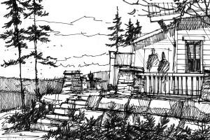 sketch of back yard