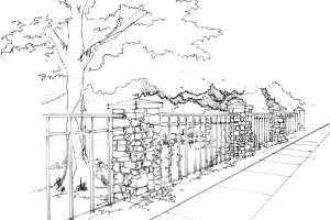 rock fence sketch