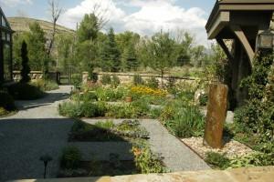 kitchen garden with gravel paths