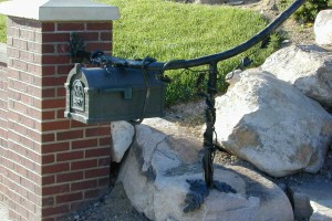 mailbox integrated into handrail design