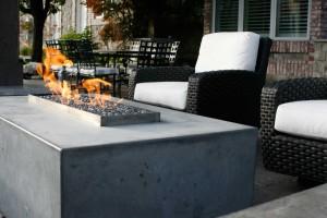 Custom fire feature on patio