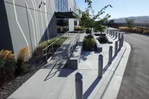 landscaped building entrance