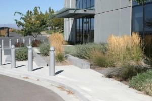 Concrete landscape walls integrated into planting beds
