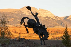 """Jackson Hole Airport Entry Feature - """"Battle of Wills"""" at Sunrise (Photo by Bart Walter)"""
