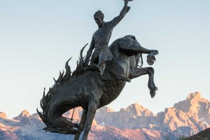 """Jackson Hole Airport Entry Feature - """"Battle of Wills"""" with Tetons (Photo by Bart Walter)"""